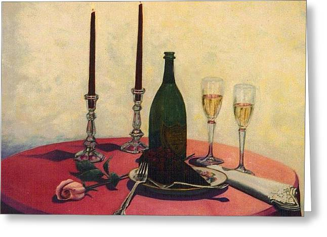 Champagne Glasses Greeting Cards - Sensual Pleasures Greeting Card by Michael John Cavanagh