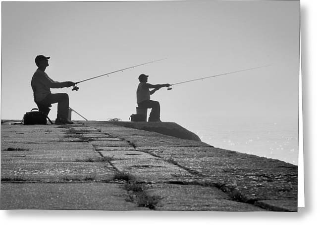 Wisconsin Fishing Greeting Cards - Sentinels - Fishing in the Fog Greeting Card by Bill Pevlor