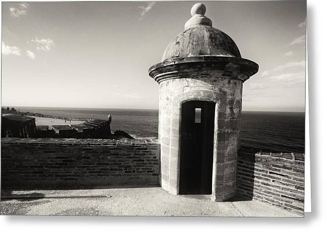Old San Juan Greeting Cards - Sentry Post of San Juan Greeting Card by George Oze