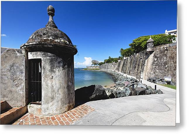 Colonial Architecture Greeting Cards - Sentry Post on Paseo Del Morro Greeting Card by George Oze