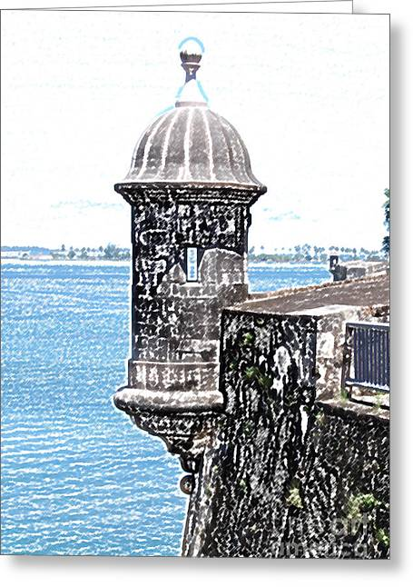 Caribbean Greeting Cards - Sentry Tower Castillo San Felipe Del Morro Fortress San Juan Puerto Rico Colored Pencil Greeting Card by Shawn O