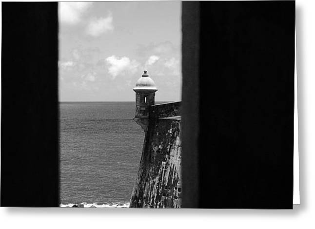 Sentry Tower View Castillo San Felipe Del Morro San Juan Puerto Rico Black and White Greeting Card by Shawn O'Brien