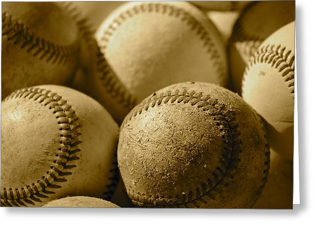 Sepia Baseballs Greeting Card by Bill Owen