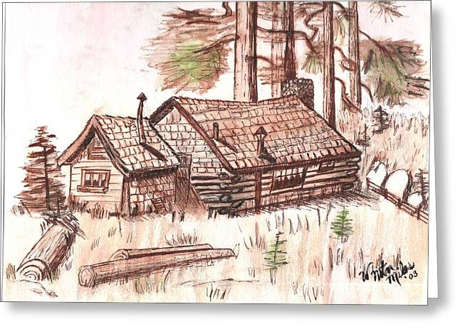 Log Cabin Art Drawings Greeting Cards - Sepia Cabin in Montana Greeting Card by Windy Mountain