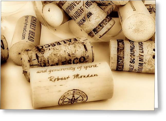 Gnarly Greeting Cards - Sepia Corks Greeting Card by Cheryl Young