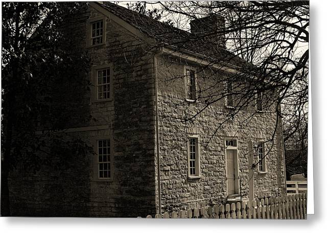 Stone House Greeting Cards - Sepia Farm Deacon Greeting Card by Lone  Dakota Photography