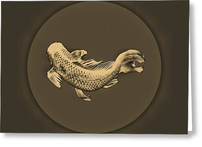 Fish. Spherical Greeting Cards - Sepia Koi Greeting Card by Don Mann