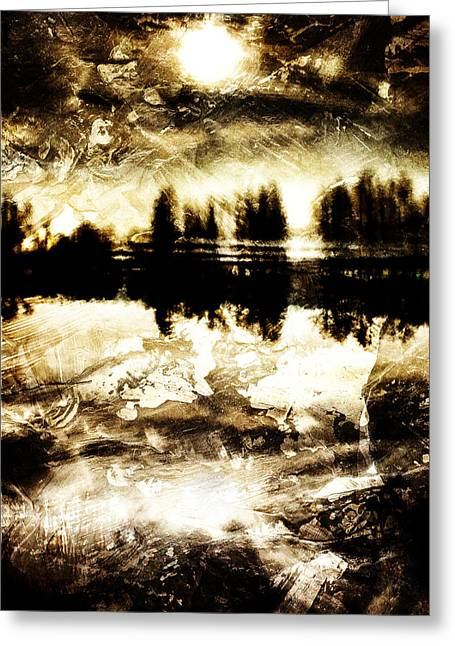 Oniric Greeting Cards - Sepia Lake Sunset Greeting Card by Andrea Barbieri