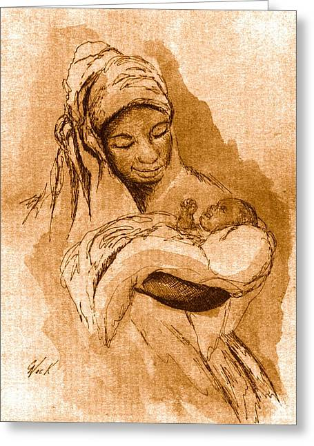 African-american Drawings Greeting Cards - Sepia Madonna Greeting Card by George Nock