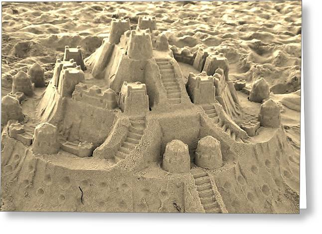 Sand Castles Digital Art Greeting Cards - Sepia Sand Castle Greeting Card by Paulette Thomas