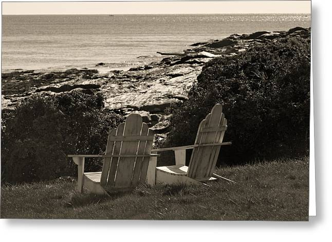 Ocean Landscape Greeting Cards - Sepia Seaside Retreat Greeting Card by Lone  Dakota Photography