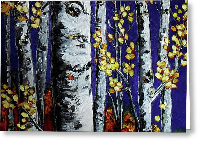 Birch Tree Mixed Media Greeting Cards - September Comes Greeting Card by Vickie Warner