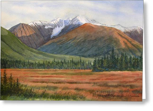 Glacier Greeting Cards - September in Glacier Valley Greeting Card by Sharon Freeman