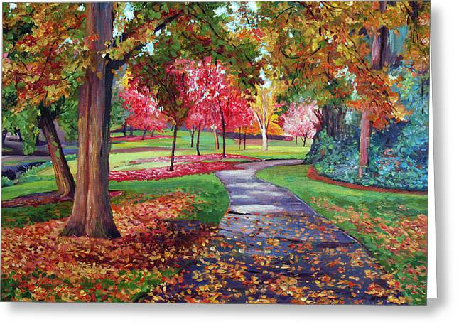 Fallen Leaf Greeting Cards - September Park Greeting Card by David Lloyd Glover