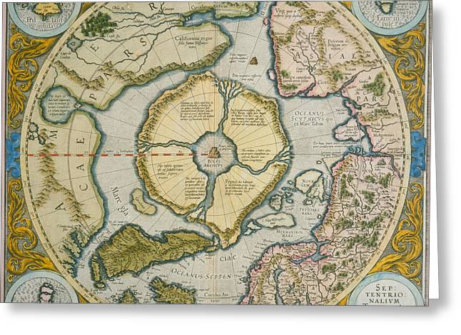 Geography Drawings Greeting Cards - Septentrionalium Terrarum descriptio Greeting Card by Gerardus Mercator