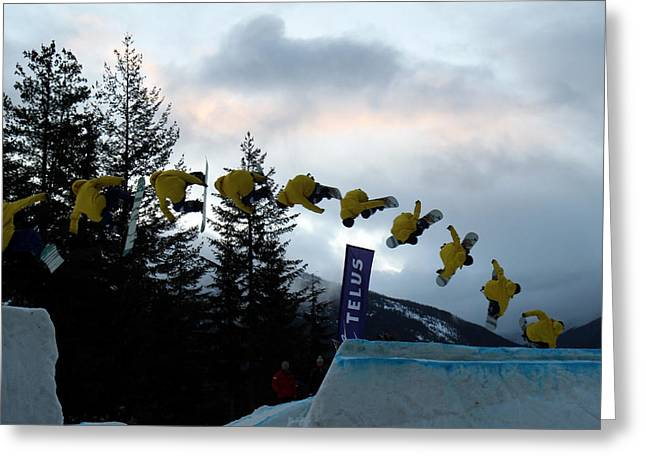 Telus Greeting Cards - Sequence  of a snowboarder at the Telus snowboard festival Whistler 2010 Greeting Card by Pierre Leclerc Photography