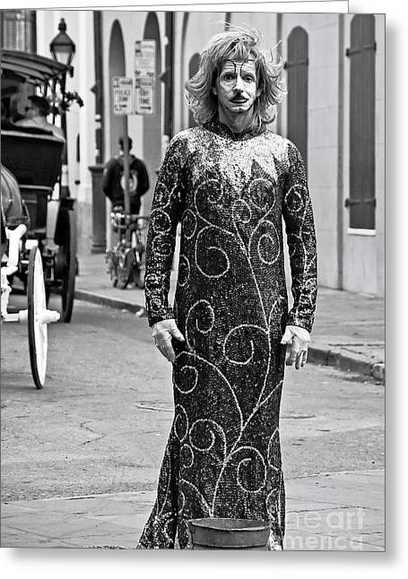 French Quarter Greeting Cards - Sequined Mime in Black and White Greeting Card by Kathleen K Parker