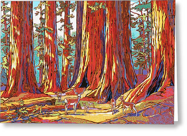 Nadi Spencer Paintings Greeting Cards - Sequoia Deer Greeting Card by Nadi Spencer