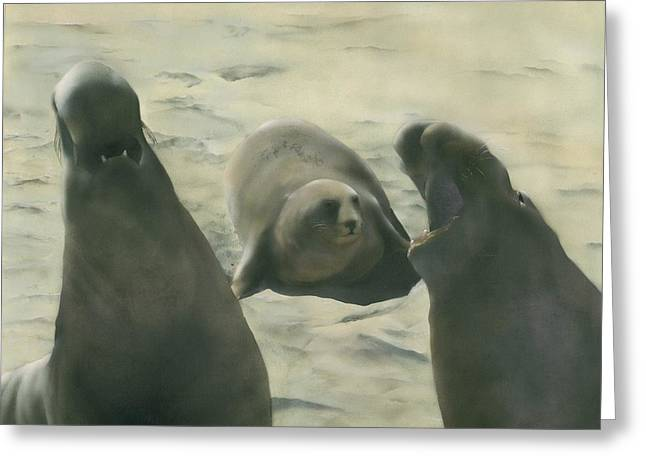 Elephant Seals Paintings Greeting Cards - Seranade Greeting Card by Charles Parks