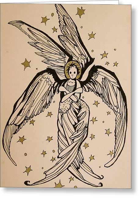 Jackie Rock Drawings Greeting Cards - Seraphim Greeting Card by Jackie Rock