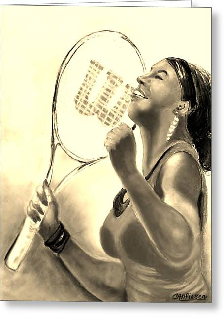 Wimbledon Drawings Greeting Cards - Serena in Sepia Greeting Card by Carol Allen Anfinsen
