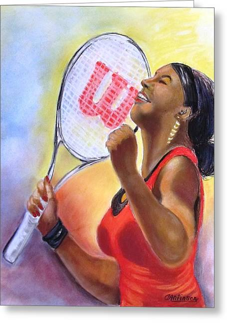 Tennis Pastels Greeting Cards - Serena Shines Greeting Card by Carol Allen Anfinsen