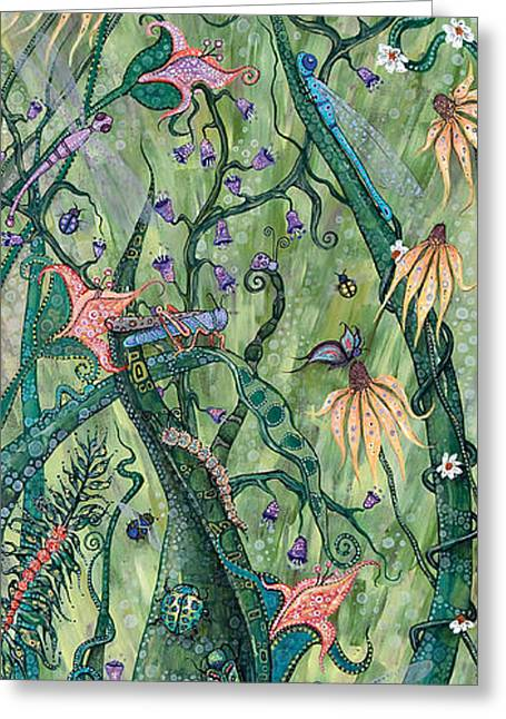 Grasshopper Paintings Greeting Cards - Serendipity Greeting Card by Tanielle Childers