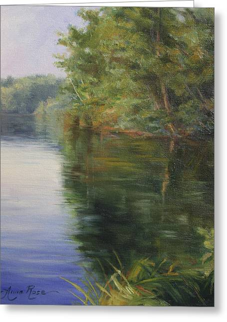 Lake Paintings Greeting Cards - Serene Greeting Card by Anna Bain
