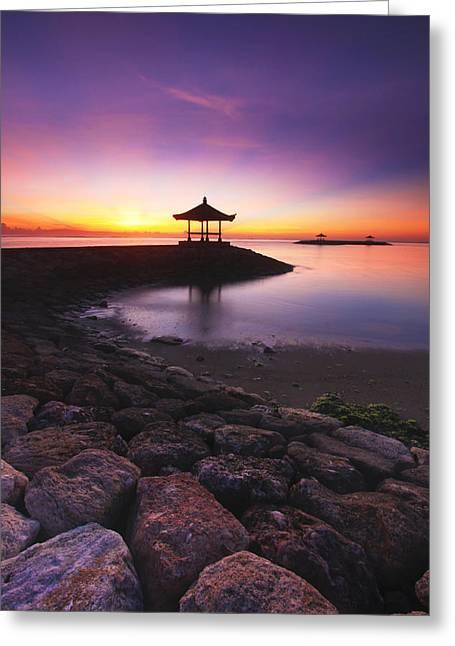 Serene Dawn Greeting Card by Pandu Adnyana