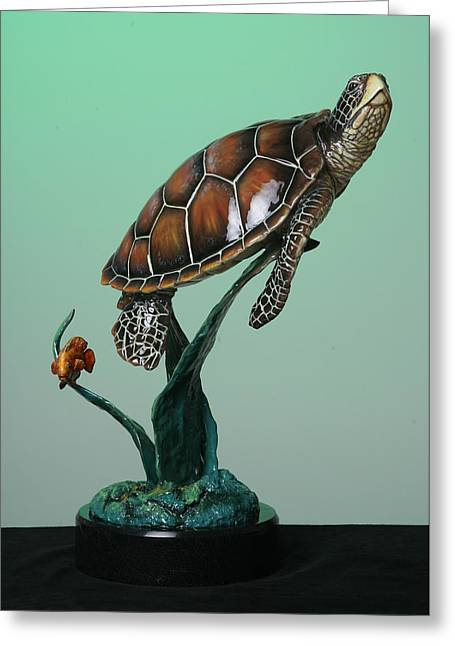 Turtle Sculptures Greeting Cards - Serene Greeting Card by Elzubair Elzein