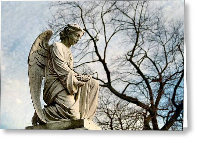 Knelt Digital Greeting Cards - Serene Angel Greeting Card by Gothicolors Donna Snyder