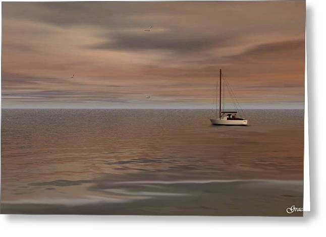 Sailboat Ocean Greeting Cards - Serene Sail Greeting Card by Julie  Grace