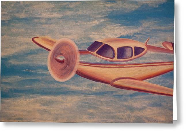 Airplane Pastels Greeting Cards - Serene Skies Greeting Card by Thomas Maynard
