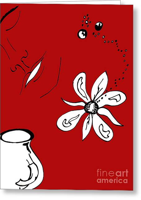 Indian Ink Mixed Media Greeting Cards - Serenity in Red Greeting Card by Mary Mikawoz