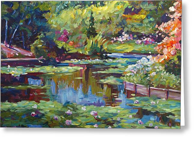 Blue Green Water Greeting Cards - Serenity Pond Greeting Card by David Lloyd Glover