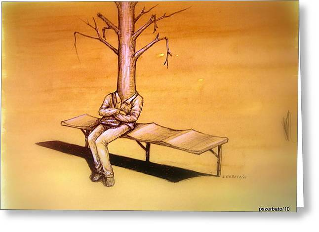 Aimless Greeting Cards - Series Trees Drought 4 Greeting Card by Paulo Zerbato
