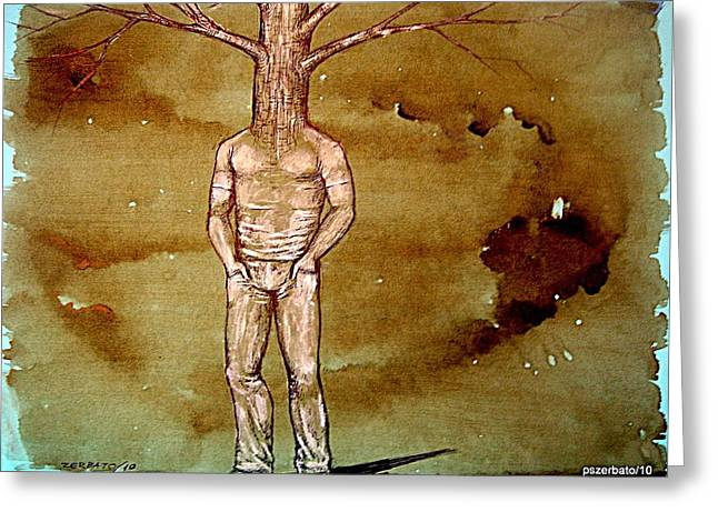 Arid Life Mixed Media Greeting Cards - Series Trees Drought Greeting Card by Paulo Zerbato