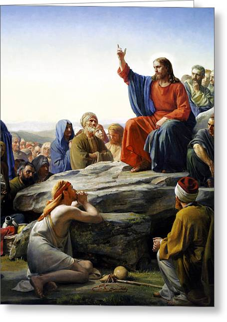 Poster Paintings Greeting Cards - Sermon On The Mount Greeting Card by Carl Bloch