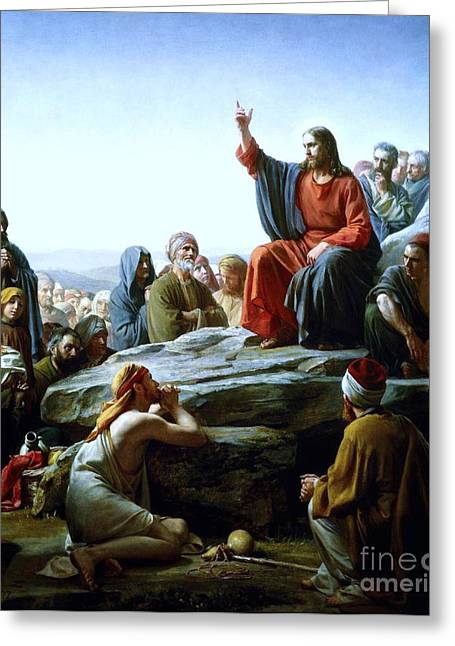 Christ Sermon Greeting Cards - Sermon On The Mount Greeting Card by Pg Reproductions