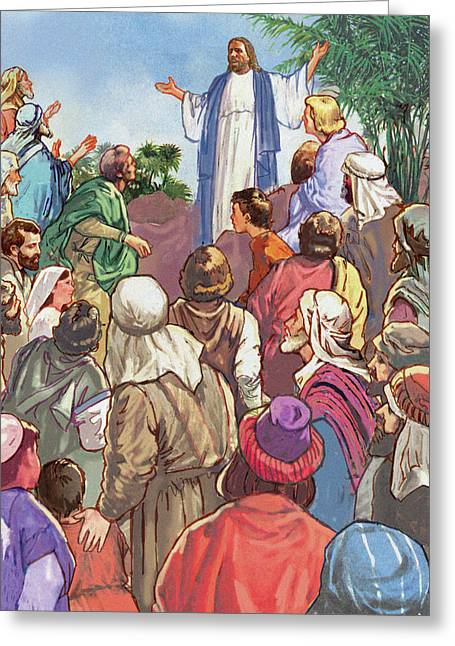 Jesus Sermon Greeting Cards - Sermon on the Mount Greeting Card by Valerian Ruppert