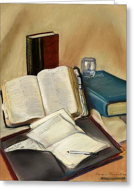 Bible Pastels Greeting Cards - Sermon Preparation Greeting Card by Rita Lackey