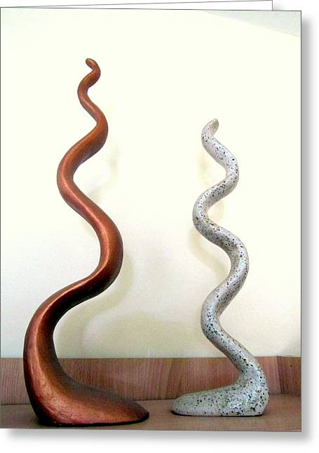 Spiral Sculptures Greeting Cards - Serpants Duo pair of abstract snake like sculptures in brown and spotted white dancing upwards Greeting Card by Rachel Hershkovitz
