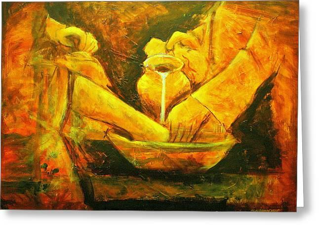 Water Jars Paintings Greeting Cards - Servant Heart Greeting Card by Jun Jamosmos