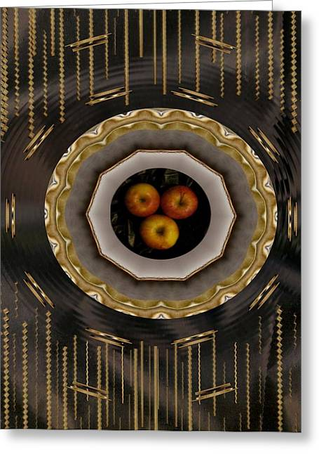 Plastic Mixed Media Greeting Cards - Served on gold plate Greeting Card by Pepita Selles