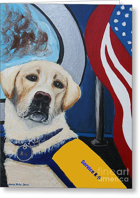 Working Dog Mixed Media Greeting Cards - Service K9 Greeting Card by Ania M Milo