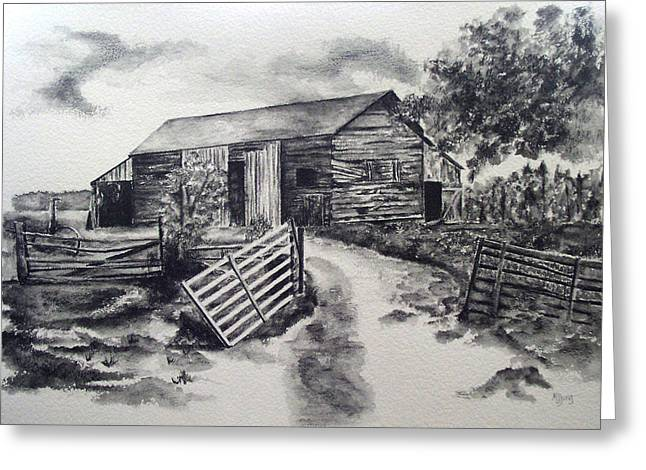 Dilapidated Drawings Greeting Cards - Service Rendered Greeting Card by Mary Jo Jung