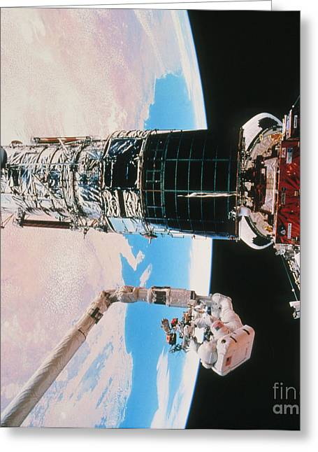 Hst Greeting Cards - Servicing The Hubble Space Telescope Greeting Card by NASA / Science Source