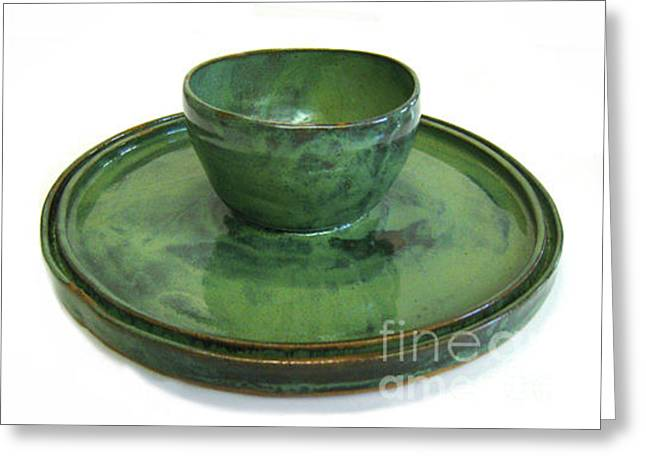 Best Sellers -  - Hand Thrown Pottery Greeting Cards - Serving Dish or Chip and Dip Server Greeting Card by Vernon Nix