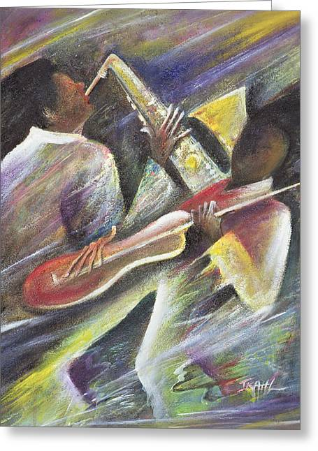 African Paintings Greeting Cards - Session Greeting Card by Ikahl Beckford