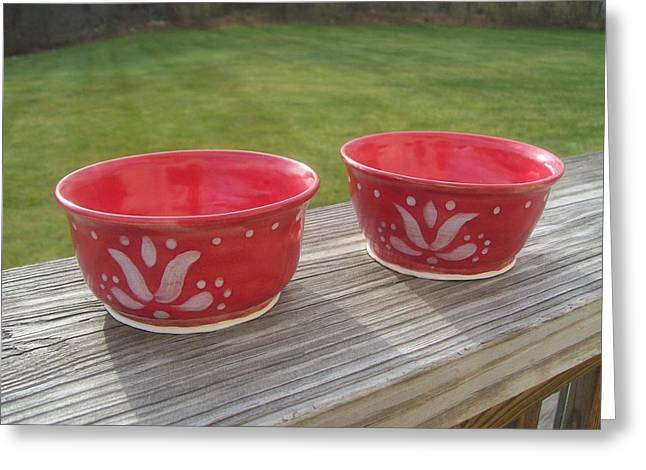 Small Ceramics Greeting Cards - Set Of Small Red Bowls Greeting Card by Monika Hood